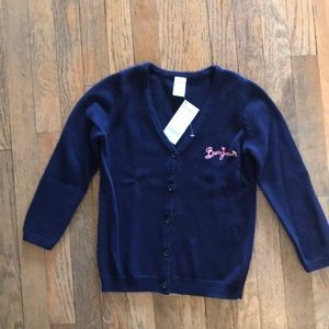 "Navy Cardigan  with pink ""bonjour"" embroidery"